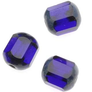 Czech Glass Cathedral Window Beads 8mm Cobalt (12)
