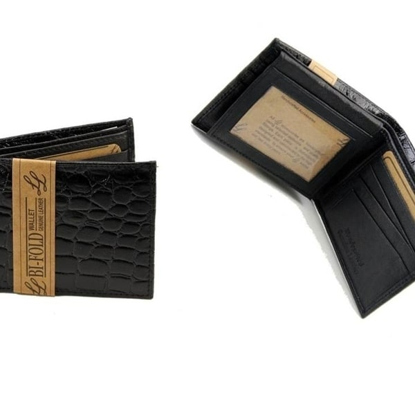 cc187cb4e887 High Quality Mens Crocodile Black Wallet Alligator Bifold Genuine Leather  Print