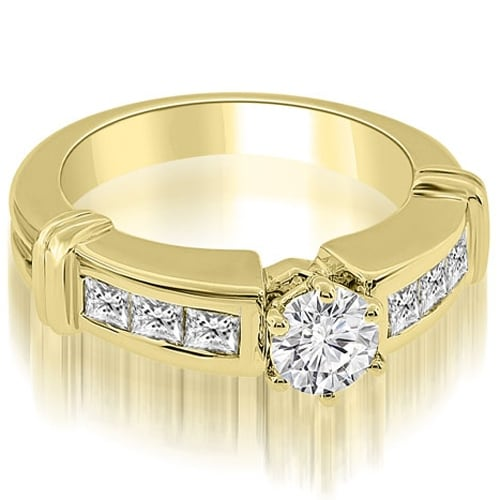 1.60 cttw. 14K Yellow Gold Vintage Style Round Cut Diamond Engagement Ring