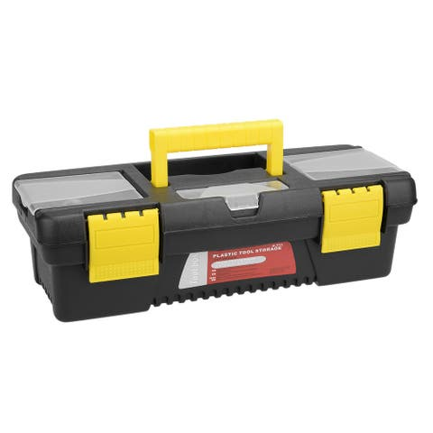 11-inch Tool Box with Tray and Organizers Includes Three Small Parts Boxes