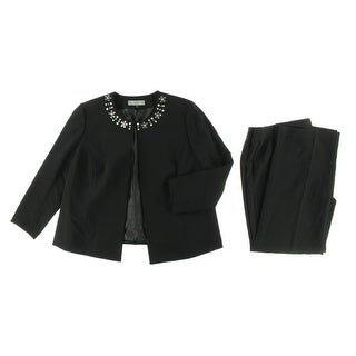 Tahari ASL Womens Plus Vincent Embellished 2PC Pant Suit