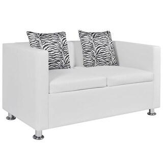 vidaXL Artificial Leather 2-Seater Sofa White