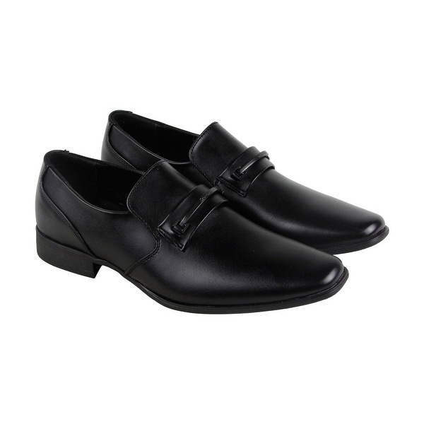 Calvin Klein Brennan Mens Black Leather Casual Dress Slip On Loafers Shoes