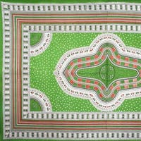 Handmade 100% Cotton Dashiki Tapestry Tablecloth Bedspread Coverlet Twin Green