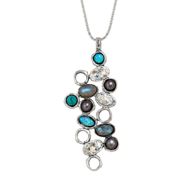 Created Opal, Natural Labradorite, Turquoise, Freshwater Pearl & Roman Glass Pendant in Sterling Silver - Blue