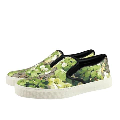 Gucci Men's Bloom Flower Print Supreme GG Green Canvas Slip Sneakers 407362 8961