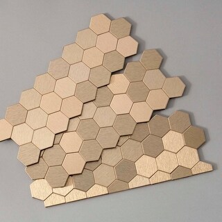 """ACP A98 Aspect - 11"""" x 4"""" Hexagon Mosaic Wall Tile - Metal Visual - Sold by Piec - N/A (2 options available)"""