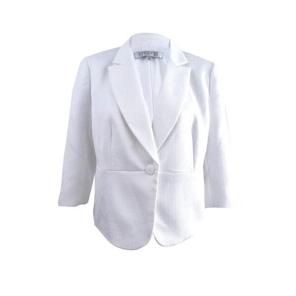 37862a1152 Shop Kasper Women s Plus Size Textured 3 4-Sleeve Blazer (18W