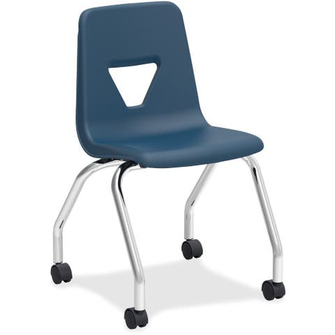 Lorell Navy Steel Classroom Mobile Chairs (Set of 2)