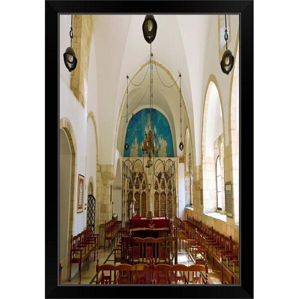 """""""Interior of a Synagogue, Jerusalem, Israel"""" Black Framed Print"""