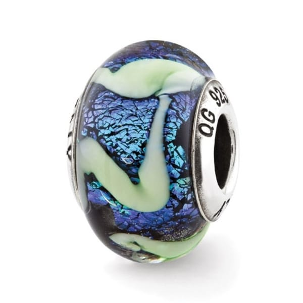 Italian Sterling Silver Reflections Blue with Green Swirls Glass Bead (4mm Diameter Hole)