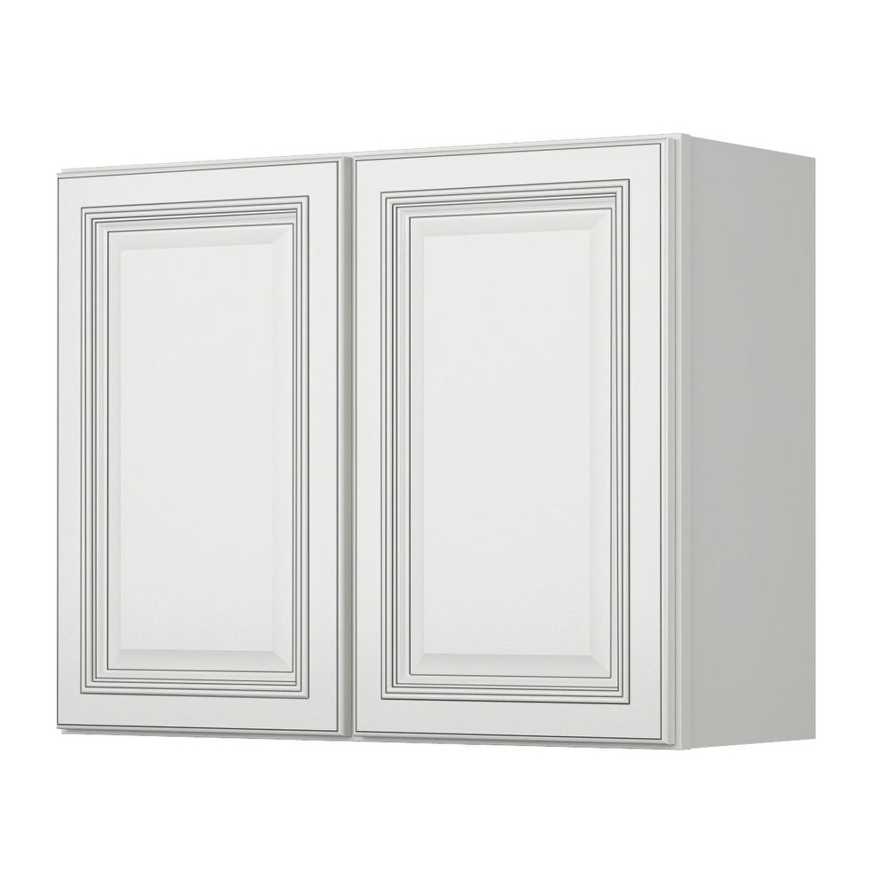 Sunny Wood Slw3024 A Sanibel 30 X 24 Double Door Wall Cabinet Off White With Charcoal Glaze Free Shipping Today 16904815
