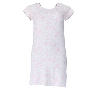 Sag Harbor Women's Plus Size Floral Short Sleeve Night Gown