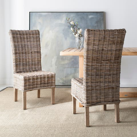 """SAFAVIEH Dining Rural Woven Quaker Unfinished Natural Wicker Dining Chairs (Set of 2) - 18.5"""" x 22.8"""" x 42.1"""""""