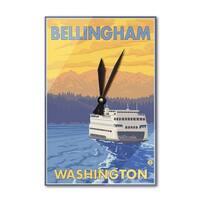 Bellingham, WA - Ferry and Mountains - LP Artwork (Acrylic Wall Clock) - acrylic wall clock