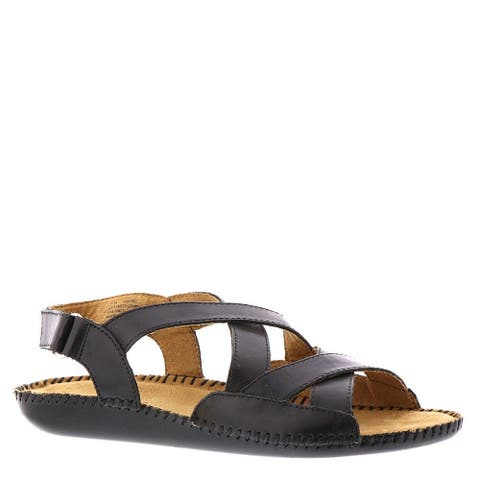 Auditions Womens Madrid Leather Open Toe Casual Slingback Sandals