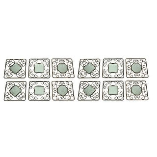 Decorative Scroll Vintage Finish Square Accent Mirrors Set of 12 - 9 X 9 X 0.25 inches