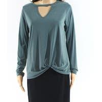 Moa Moa Green Womens Size Medium M Long Sleeve Keyhole V-Neck Top