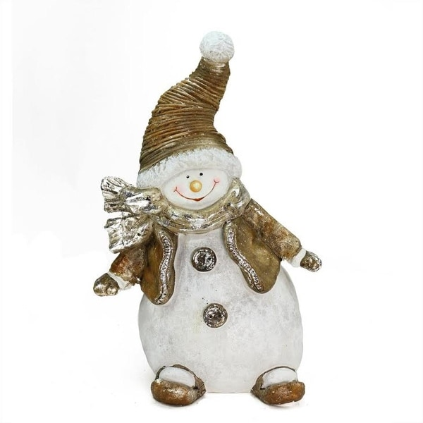 """17"""" Whimsical Snowshoeing Ceramic Christmas Snowman Decorative Tabletop Figure"""