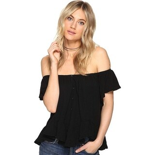 Free People Mint Julep Button Front Ruffle Top Black - xs