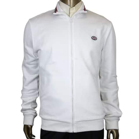 Gucci Interlocking G White Cotton Modal Felted Twill Zip Up Jacket 322971 9014