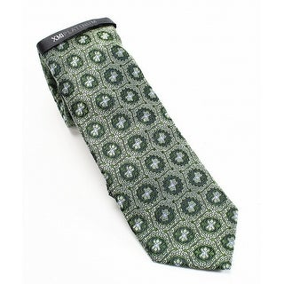 XMI Platinum NEW Green Floral Geometrics Men's Silk Woven Necktie