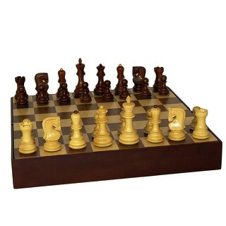 Sheesham Old Russian Chess Set With Walnut Chest - Multicolored