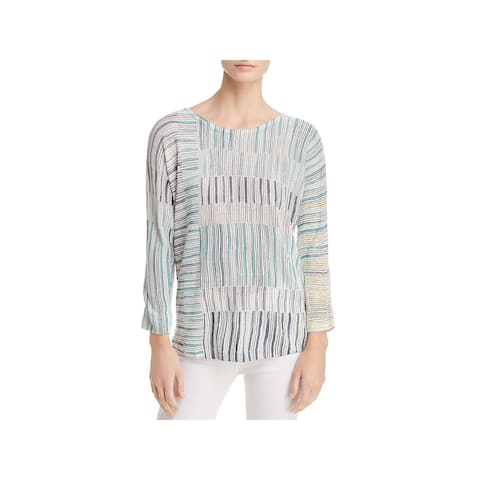 Nic + Zoe Womens Pullover Sweater Linen Printed