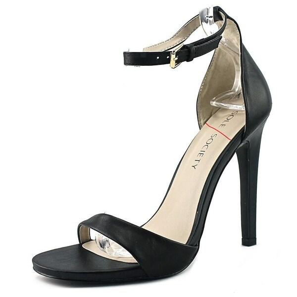 Sole Society Lindsay Women Open-Toe Leather Black Heels