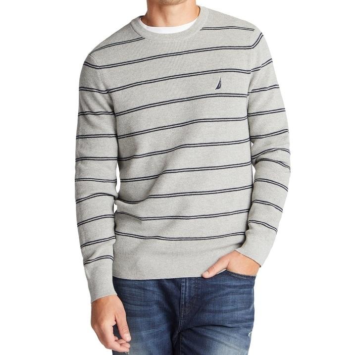 Nautica Mens Striped V-Neck Button Cardigan Sweater Navy Blue XL