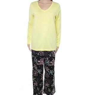 Hue NEW Yellow Black Womens Size XS Snowflake Print V-Neck Pajama Set