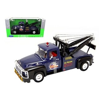 1956 Ford F-100 Tow Truck Bob\'s Towing Blue 1/18 Diecast Car Model by Welly