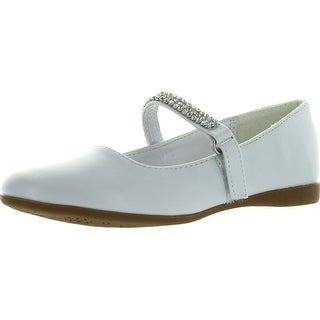 Little Angel Kelly-767E Girls Patent Leatherette Round Toe Rhinestone Mary Jane Ballerina Flat