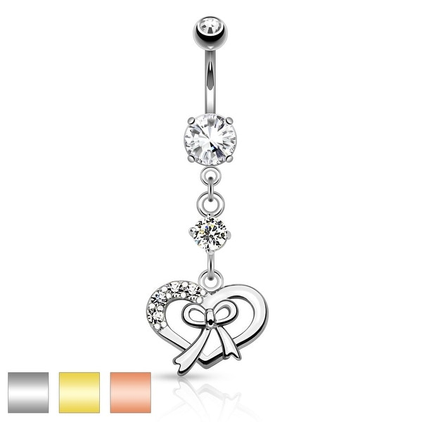 Ribbon and Heart with Paved Gems Dangle Navel Ring