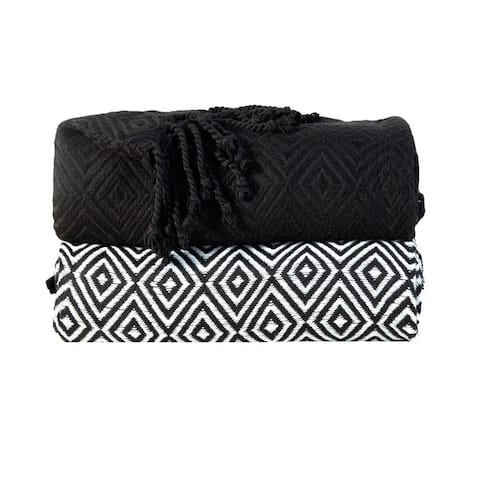 """100-Percent Cotton Diamond Weave Throws, Pack of 2 (50"""" x 60"""")"""