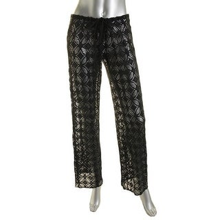 Becca Womens Crochet Flare Pants Swim Cover-Up