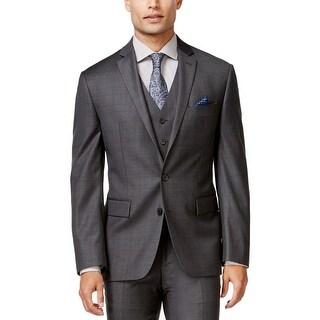 Ryan Seacrest Mens Two-Button Blazer Wool Tonal Plaid