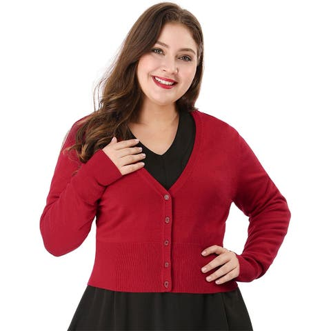 Women's Solid Button Down Long Sleeve Plus Size Cropped Bolero Cardigan