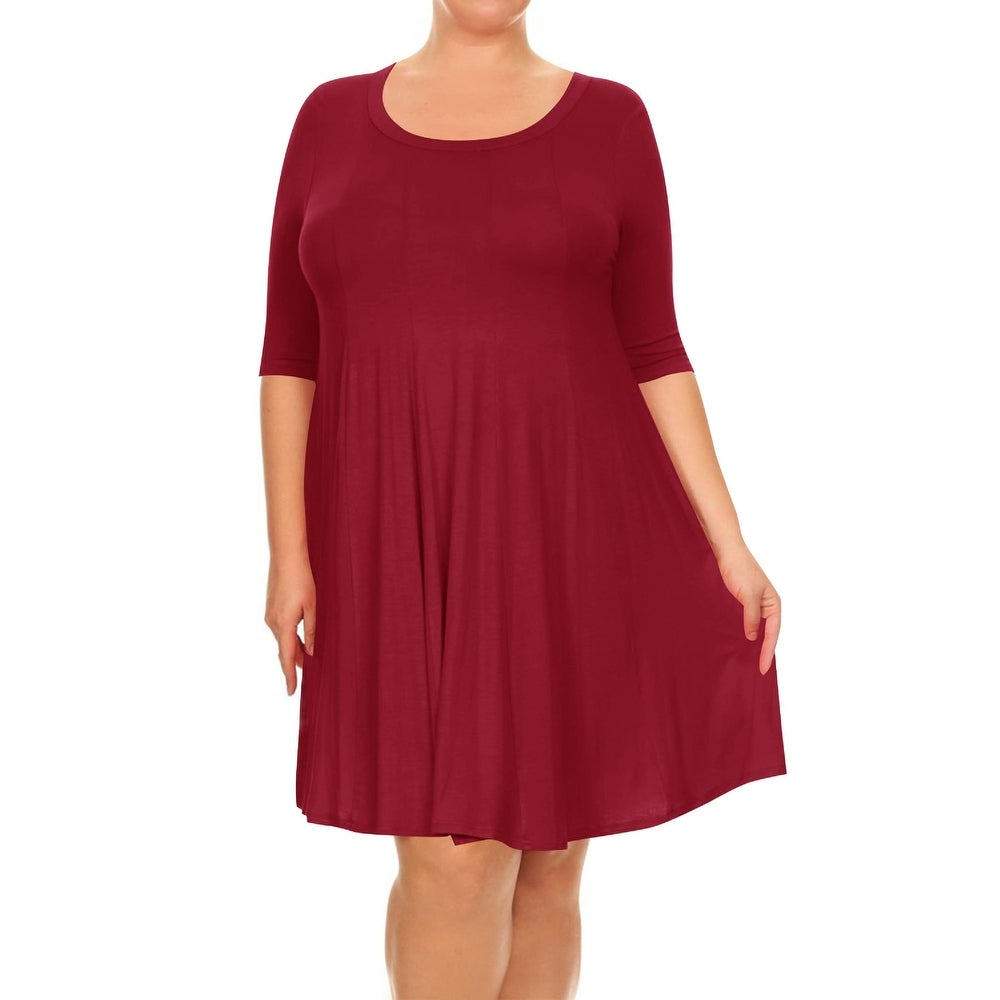Womens Solid Round Neck A-Line Midi Dress