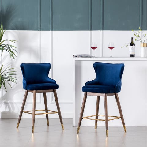 Leland Fabric Upholstered Counter Height Wingback Stools, Set of 2