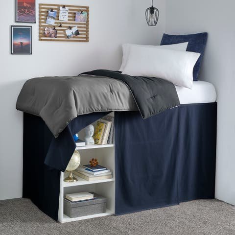 Nautica Solid Cotton Navy Twin Extra Long Dorm Bedskirt Panel