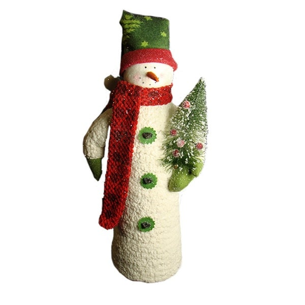 "17"" Fluffy Cone-Shaped Snowman with Berry Tree Christmas Table Figure - WHITE"