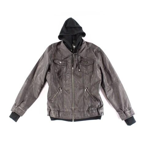 JOHNNY Gray Women's Size XXL Full Zip Pleather Motorcycle Jacket