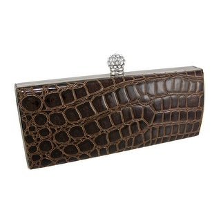 Mock Croc Hard Frame Evening Bag Clutch Purse - Brown
