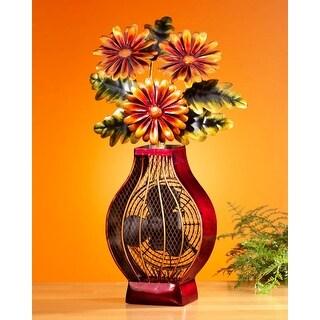 "24"" Exquisite Flower Bouquet in Vase Table Top Figure Fan"