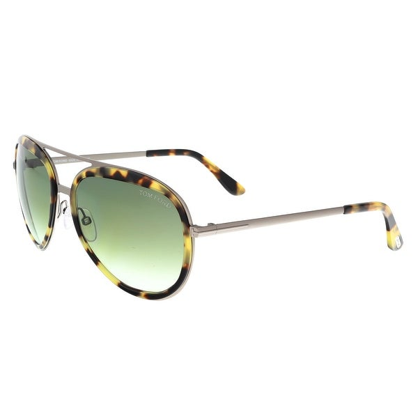 0ded046111b Tom Ford FT0468 S 53P ANDY Brushed Silver Tortoise Aviator Sunglasses - 58-