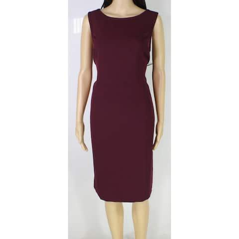 Le Suit Womens Sheath Dress Plum Purple Size 12 Solid Seamed Crepe