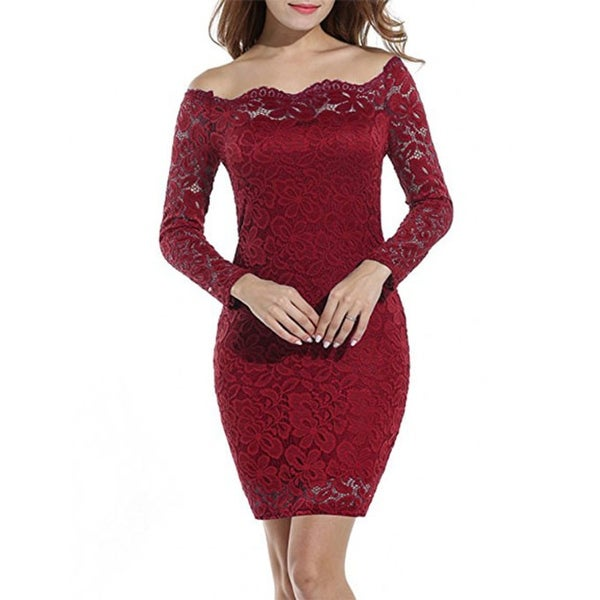 Shop Women's Off Shoulder Lace Dress Long Sleeve Bodycon