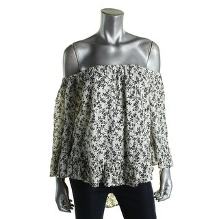 Denim & Supply Ralph Lauren Womens Pullover Top Floral Print Hi-Low Hem