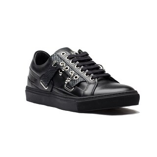 New Auth Versace Collection Men's Leather Rubber Medusa Logo Low Top Sneaker Shoes Black